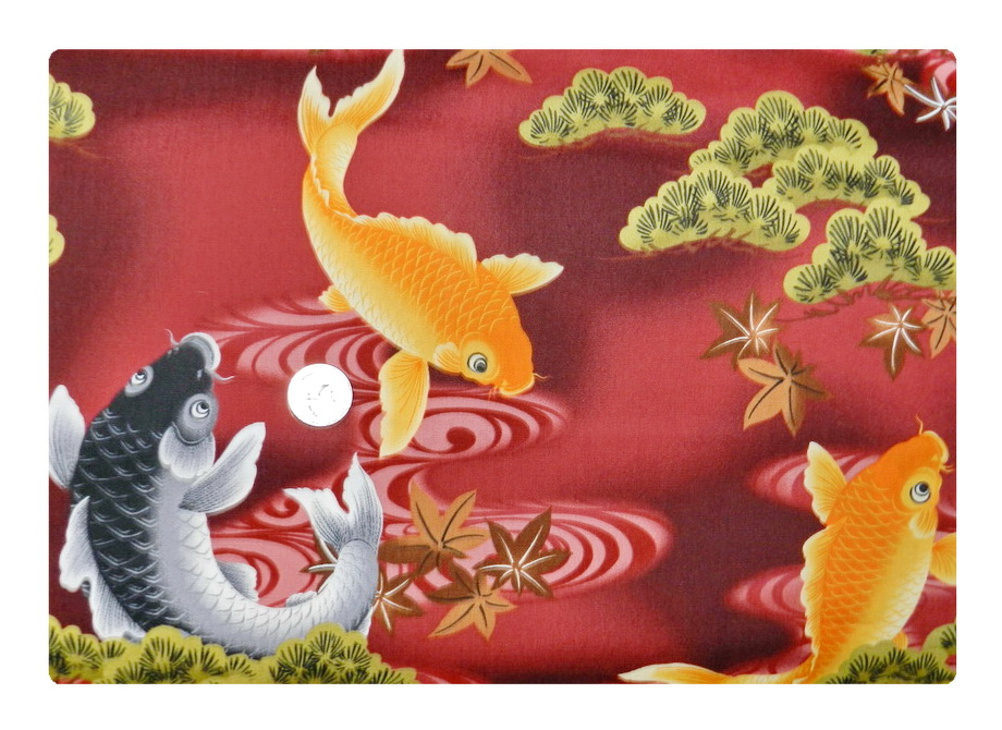Koi on Dark Red *LARGE PRINT*-