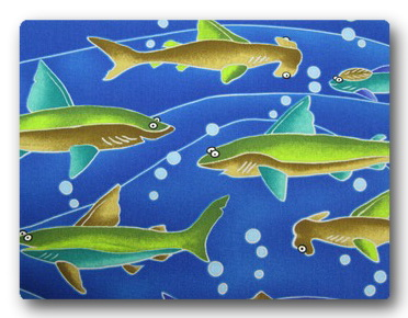 Sharks - Green Sharks on Blue-