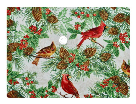 Cardinals Pine Cones and Red Berries-