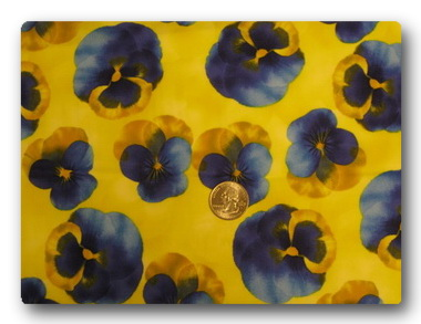 Pansy - Blue Pansies on Yellow-