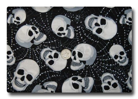 Skulls on Sparkly Silver Webs-