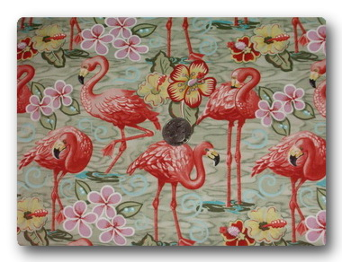 Flamingos in Green Water-