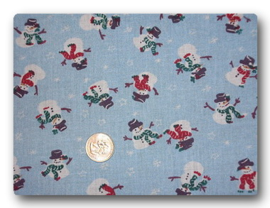 Mini Snowmen on Light Blue-