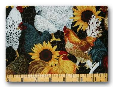 Roosters and Sunflowers-