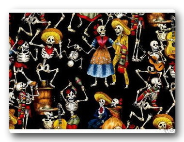 Day of the Dead Skeletons on Black-