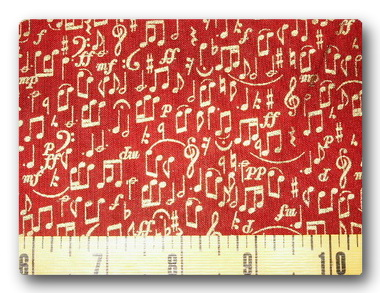 Gold Music Notes on Maroon-