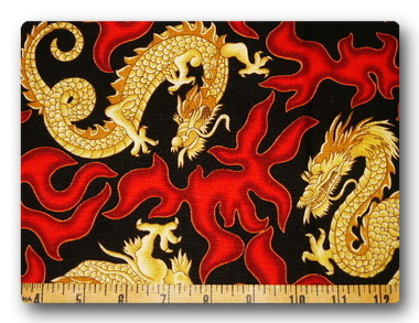 Dragons - Gold Dragons and Red Flames-